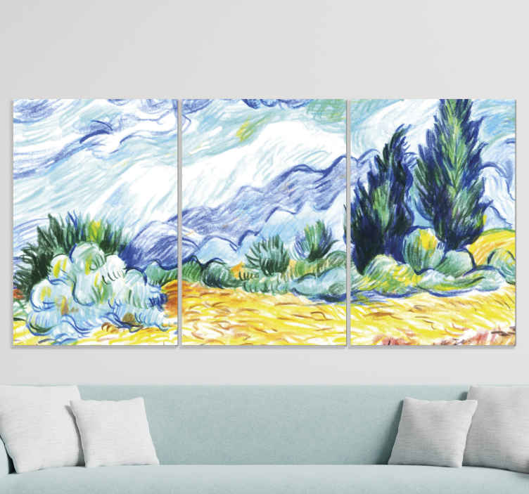 TenStickers. Impressionist landscape modern art prints on canvas. Amazing landscape  canvas print to decorate a home space. The design imitates a colorful hand drawing art and it would beautify any space.