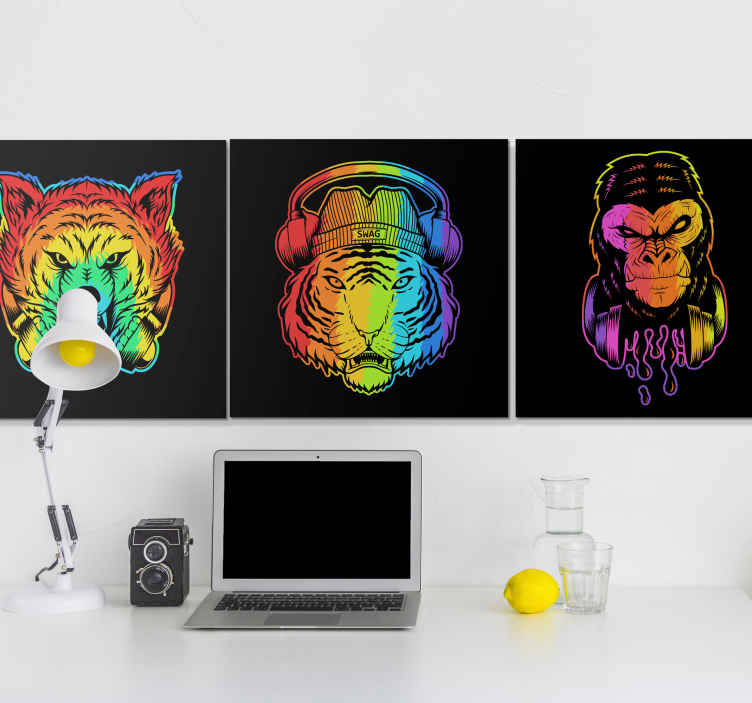 TenStickers. Modern animals modern art prints on canvas. Modern animals modern canvas wall art. Decorate your home with this lovely sets of canvas with artistic colorful representation of wild animals.