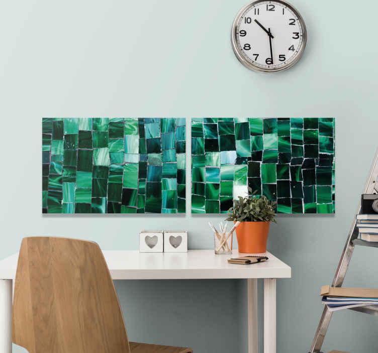 TenStickers. Grønt keramisk fotomosaik lærred. Transformer dit rum på en moderne måde med vores mosaik-lærredstryk. Imponér din familie og venner med disse produkter! Hjemmelevering!
