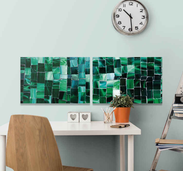 TenStickers. 绿色陶瓷写真马赛克画布. 借助我们的马赛克画布印花,以现代方式改变您的空间。以此产品打动您的家人和朋友!送货上门!