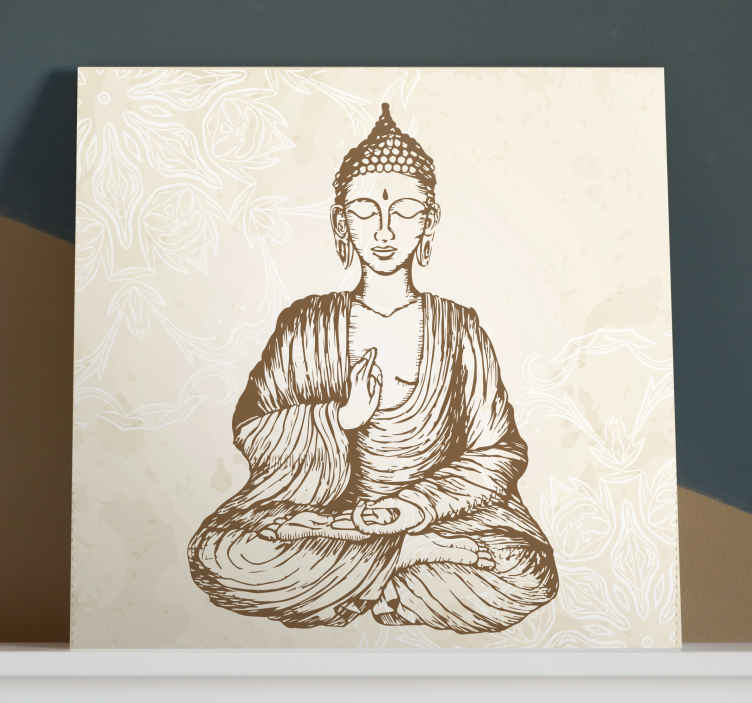 TenStickers. buda vintage floral buddha wall canvas. Buda vintage floral canvas to decorate any part of your home. The painting can be decorated in a living room, bedroom, yoga or other rooms.