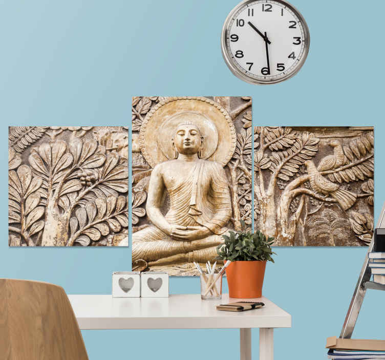TenStickers. buda relieve buddha wall canvas. Give your walls a unique and spectacular touch with thisbuda relive canvas for the home! It will perfectly climate any room in your home.