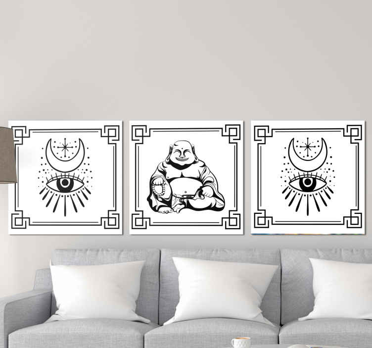 TenStickers. budas en blanco y negro buddha wall canvas. A Budas black and white canvas wall art to give your walls a fantastic touch. Our abstract canvas prints are the perfect option to decorate.