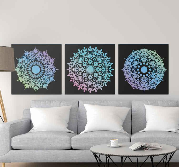 TenStickers. Cvetlične mandale tisk na steno art. Stenske umetniške poslikave s cvetličnimi mandalami za polepšanje dnevne sobe. To je primerno tudi za izboljšanje pisarniških prostorov ter kopalnic in drugih zanimivih prostorov.