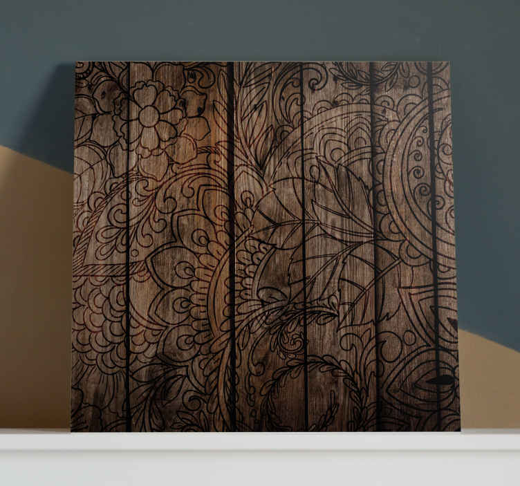 TenStickers. Wood Effect mandala print wall art. Mandala canvas art which features a beautiful mandala pattern on a wood effect background. Discounts available. High quality.