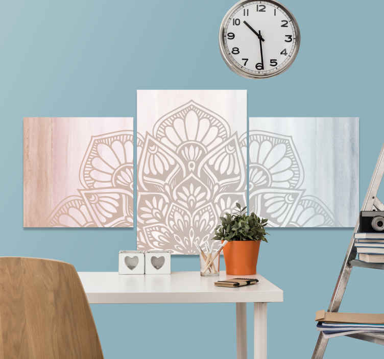 TenStickers. Floral Gradient  mandala print wall art. Mandala canvas art which features a beautiful image of a flower decorated in a mandala pattern. Choose your size. High quality.