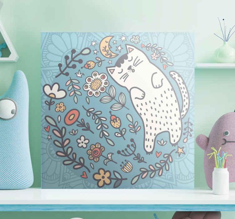 Tenstickers. Bedårande katt mandala tryck vägg konst. Plantskola kanvastryck som har en underbar cirkel av blommor och löv och en stor katt som sover. Leverans över hela världen.