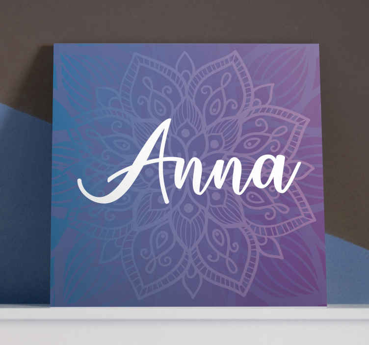 TenStickers. Personalised Mandala print wall art. Custom canvas print which features a stunning mandala pattern with the option to add your name in front. Easy to apply. Custom made.