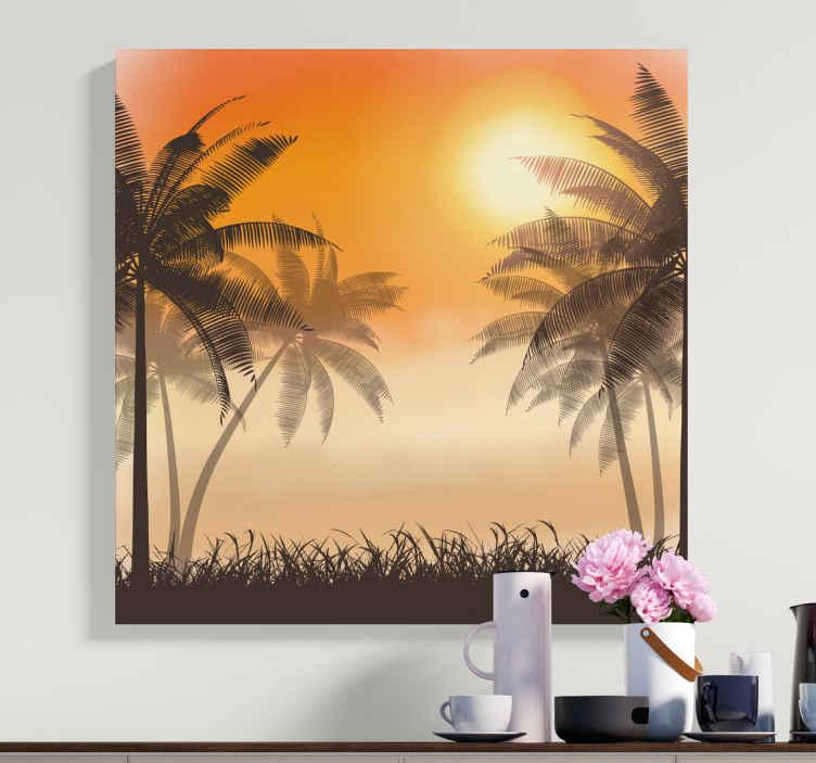 TenVinilo. Cuadro paisaje atardecer tropical. Un cuadro relajante con  paisaje de palmeras al atardecer. Este es un hermoso diseño de cuadro para sala de estar u oficina