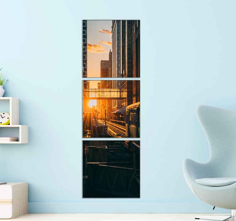 TenStickers. 现代风景帆布墙艺术. 现代城市景观的画布打印。很适合装饰居家中的任何空间以及办公室装饰。设计以高质量完成印刷。