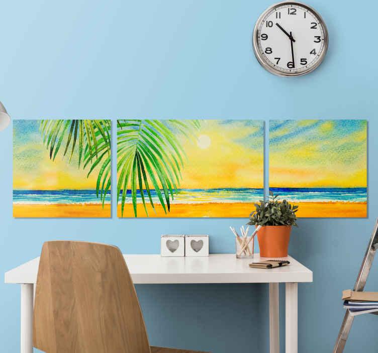 TenStickers. Morski krajolik platno zidna umjetnost. Zidna umjetnost na platnu s morskim krajolikom s ilustracijom zalaska sunca na moru. Nevjerojatan dizajn platna za dnevnu sobu, ured, spavaću sobu i drugi prostor.