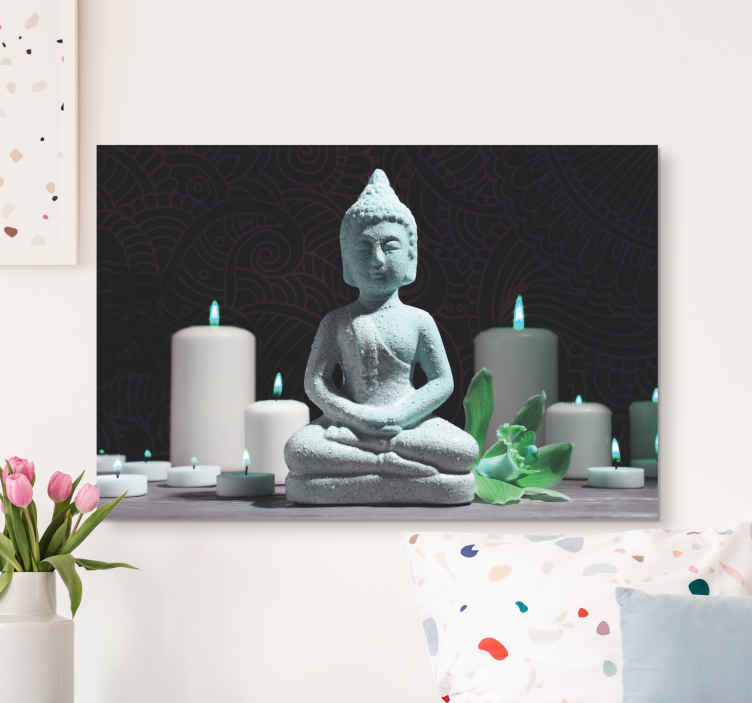 TenStickers. Decorative Zen canvas wall art. Decorative Zen canvas art print with Buddhist mediation illustration design. Lovely canvas for living room, bedroom, guest room, spa and bathroom.