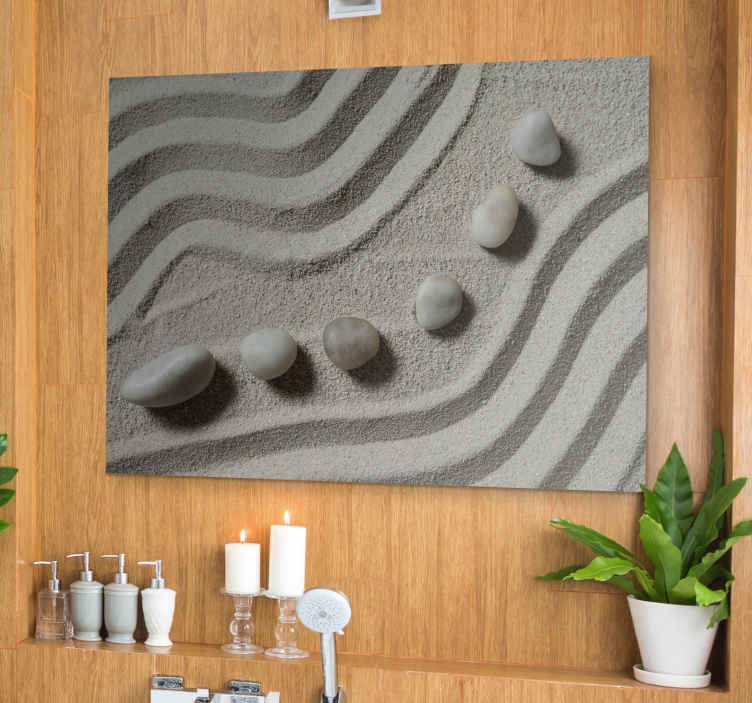 TenStickers. Meditation Zen canvas wall art. Lovely meditation Zen canvas print for bathroom. This grey home canvas art print can also be placed on other spaces such as living room, office, etc.