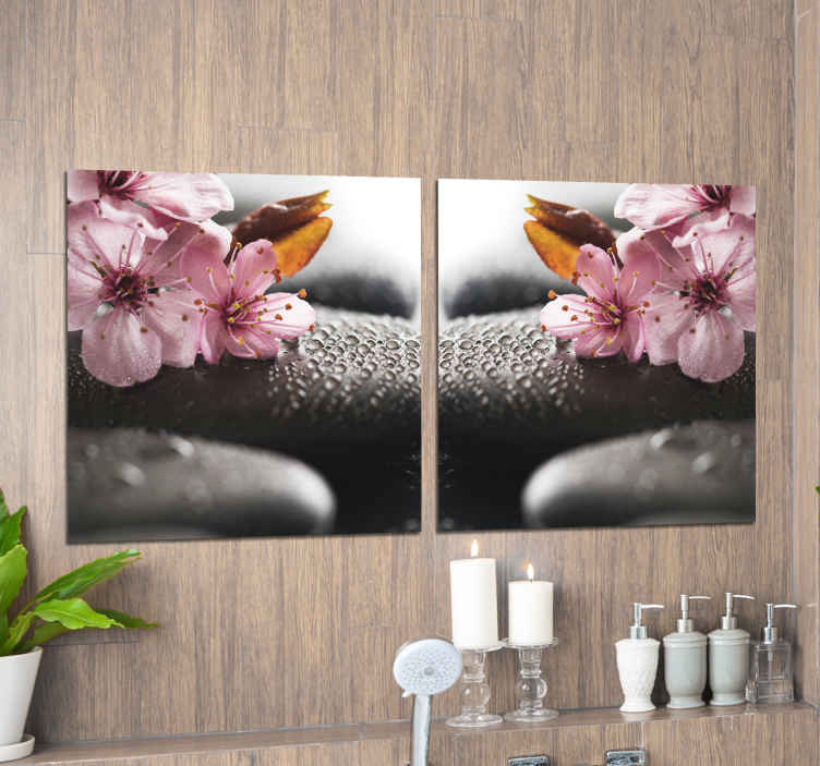 TenStickers. Zen for bathrooms zen canvas wall art. Decorate your bathroom space with our ornamental Zen flower canvas print for bathrooms. The design is printed in high quality finish.