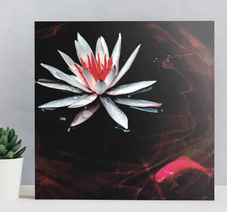 TenVinilo. Cuadro zen flor en agua en calma. Cuadro estilo zen para la decoración de tu hogar con una flor y pez para que decores tu baño o cualquier estancia ¡Elige las medidas!