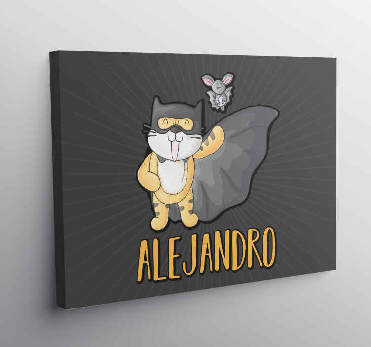 TenStickers. Personalised Batman Superhero Canvas. Canvas print with an animal embodying batman. This is a great idea if your kid enjoys superhero stories. Order now ! Home delivery !