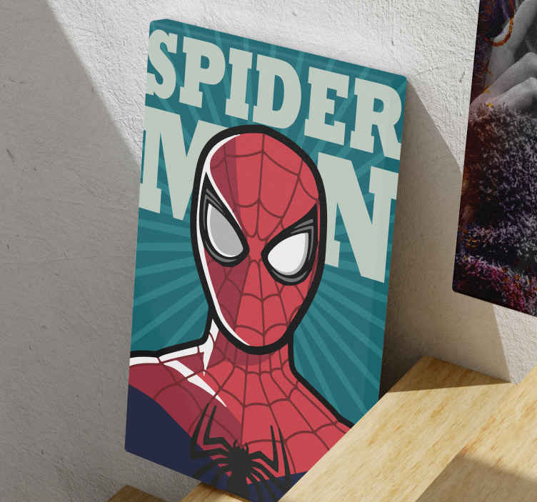 TenStickers. Superhéroes Spiderman superhero framed wall art. Canvas print with Spiderman. The pattern shows the Spiderman face on a dark green background. Easy to hang, made of high quality materials.