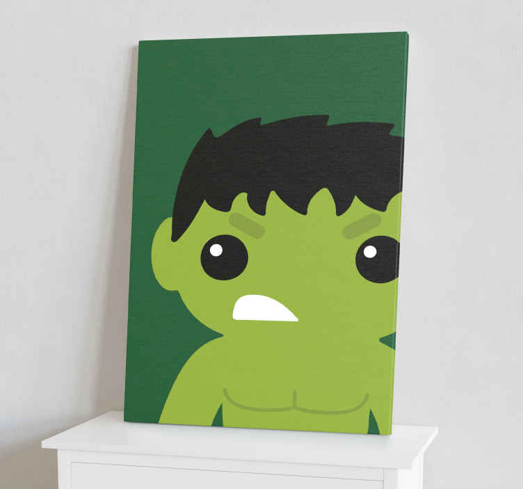 TenStickers. Superhéroes Hulk infantil superhero framed wall art. Canvas print with baby Hulk. It presents Hulk illustrated on a green background. Made of high quality materials. Check it out!