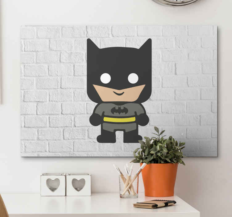 TenStickers. Superhero Batman Canvas Print. Canvas print with a baby batman, easy to hang on a wall. Made of high quality materials. It presents a small batman on a white bricky background.