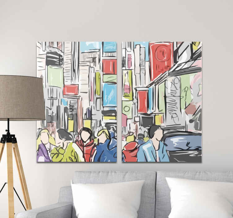 TenStickers. Personas moderno de Nueva York people and character canvas prints. This beautiful city wall canvas representing the New York streets bridge with lots of people, will look great in your home. home delivery !