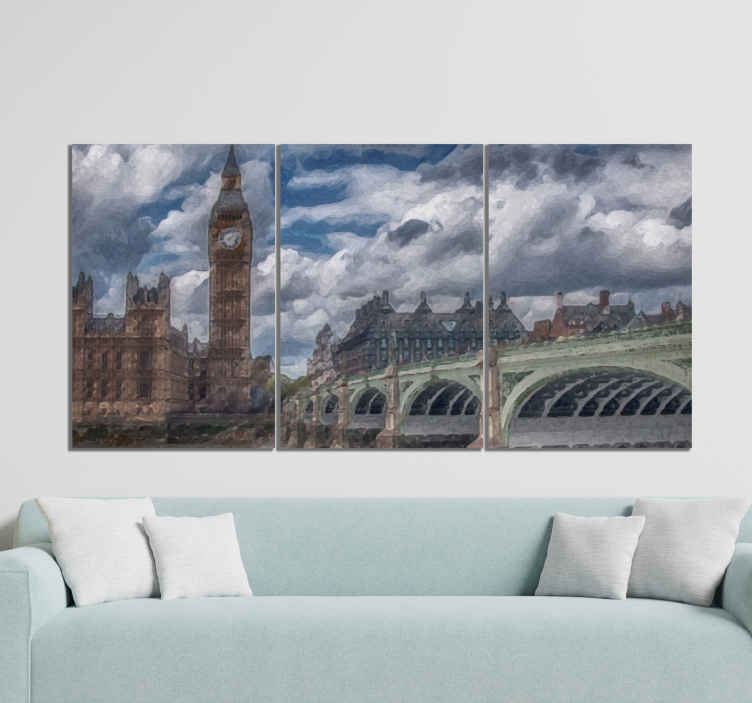 TenStickers. Personas Big Ben people and character canvas prints. Canvas print with Big Ben. It presents a bridge in Lindon and Big Ben. You ccan choose proper size. Check it out yourself!