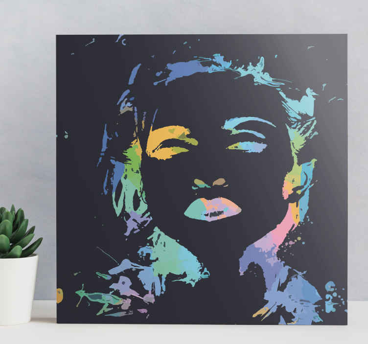 TenStickers. Personajes Madonna multicolor character canvas. This amazing Canvas with Madonna will surprise you and your friends and families! This article presents the one and only queen of pop in multicolor.