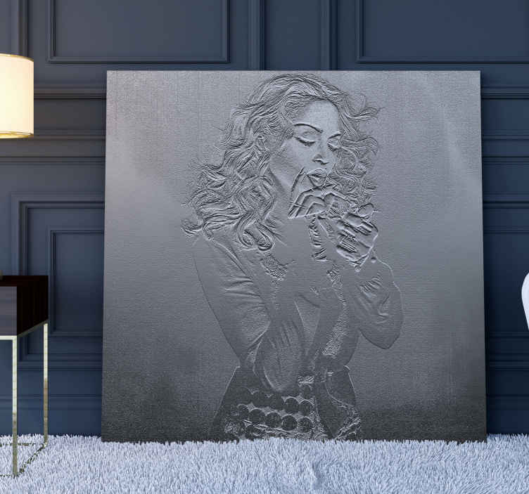 TenStickers. Madonna smoking character canvas. Canas print with smoking Madonna. The pattern shows the singer smoking a cigarette and it is made on a stone like texture.