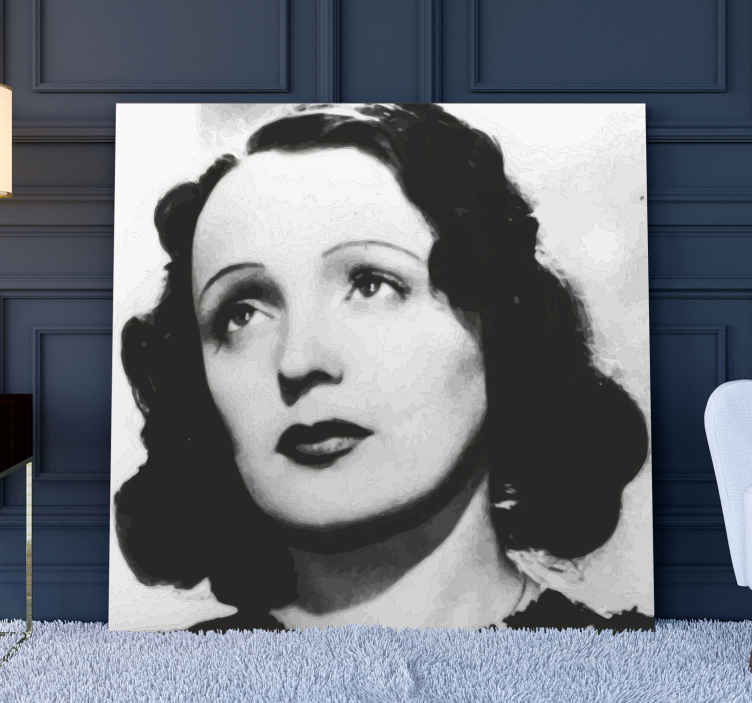 TenStickers. Edith Piaf character canvas. Are you a fan of Edith Piaf? This Canvas Print with Edith Piaf is for you! This article presents the singer in black and white
