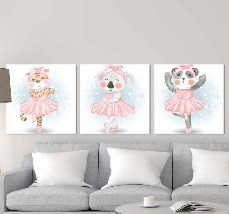 TenStickers. Cute Animal Ballerina  canvas wall art. Let yourself be tempted by this canvas wall art! This cancas will look amazing in any room! Order now this canvas ! Home delivery !