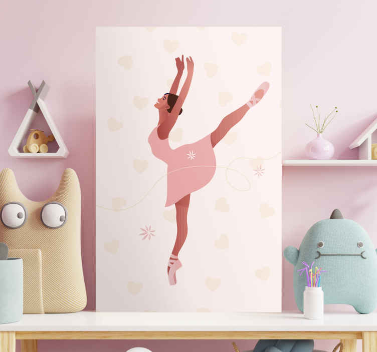 TenStickers. Ballerina with flowers canvas wall art. Let your passion for classic dance flourish with this wall art canvas is made for you! This cancas will look amazing in any room!