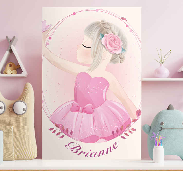 TenStickers. Theatre dancer with name canvas wall art. People character canvas wall art print with design illustrating a little girl dancing. The canvas is printed in high quality finish and durable.
