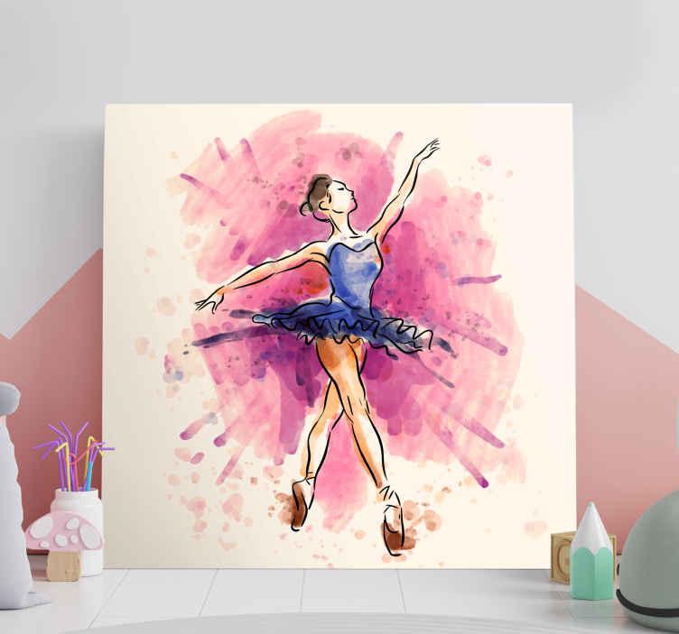 TenStickers. 紫色芭蕾舞女演员画布墙艺术. 这款壁画画布为您量身打造,让您对古典舞的激情蓬勃发展!这款帆布在任何房间里看起来都很棒!