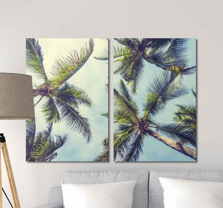 TenStickers. 3D tropical palm wall art prints. Canvvas print with palmas. It shows tropical palmas from the bottom perspective. It is made of high quality materials. Check it out!
