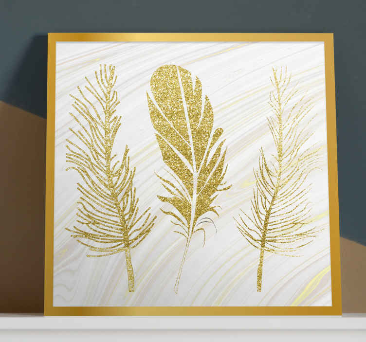 TenStickers. Golden Feather  canvas. An amazing feather canvas wall art that is both modern and elegant. Save 10% off your first order when you sign up today.