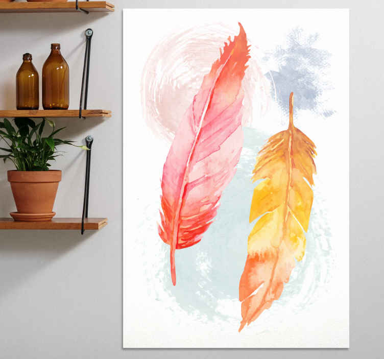TenStickers. pluma colorida invertidas canvas. On of a kind feather canvas print in beautiful colours perfect your your home! Discounts are now available online today.