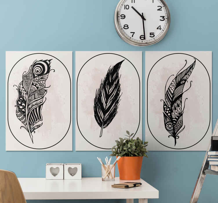 TenStickers. Three patterned feather canvas prints. Incredible feather canvas prints that will give your hope an extremely modern feel. Select the size and colour of your choice.