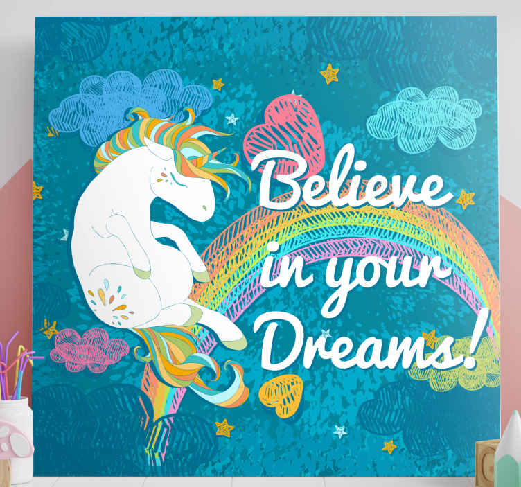 TenStickers. unicorn multicolour frase unicorn canvas wall art. Amazing unicorn canvas wall art to motivate you through out your day. Save 10% of your first order when you sign up today.