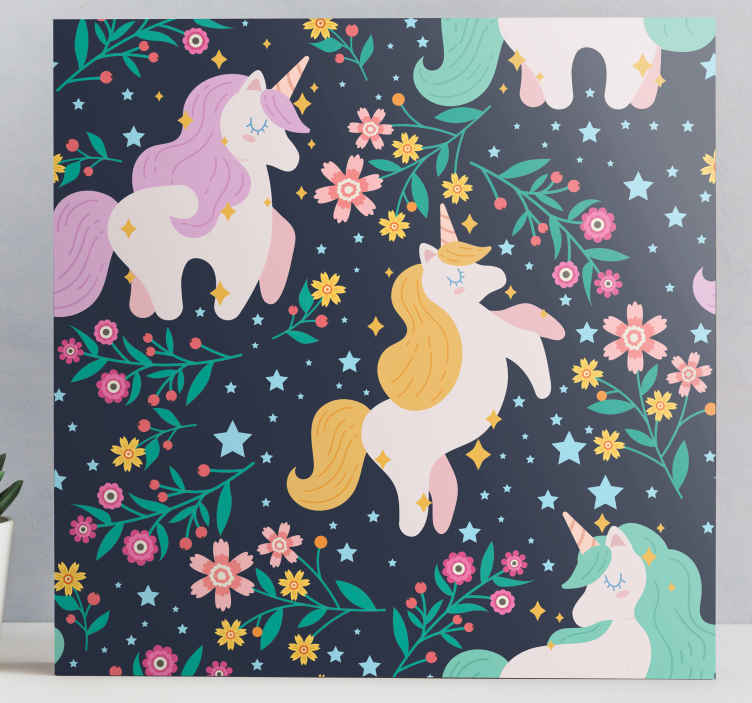 TenStickers. Flowers and stars unicorn canvas wall art. Incredible animal wall canvas featuring magical unicorns! Sign up today for a 10% discount off your first order with us.