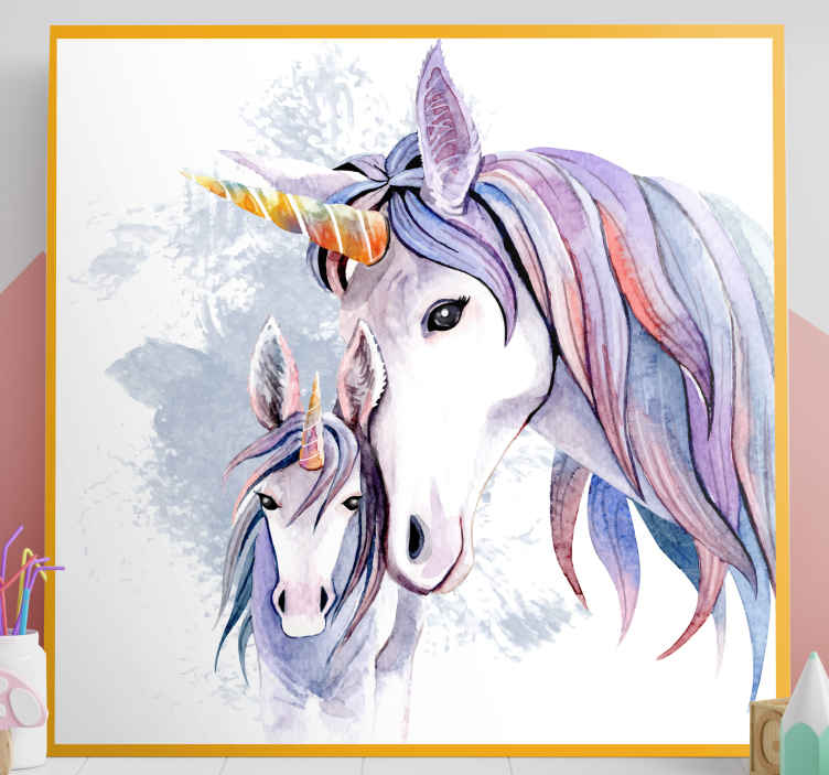 TenStickers. Mother and daughter  unicorn canvas wall art. Canvas print with unicorns. The pattern shows a baby unicorn and its mum, all on a white background. Cute decoration for your kids room.