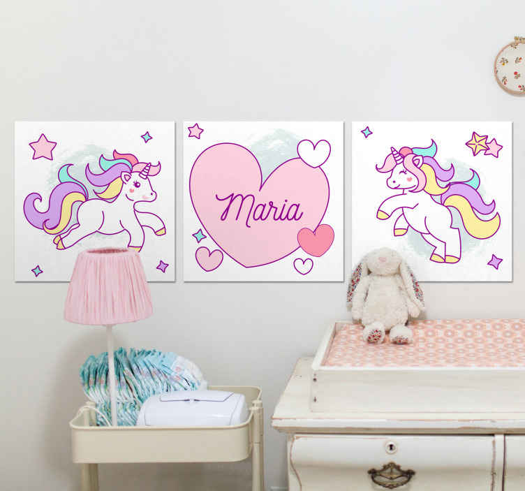 TenStickers. Heart unicorns with names unicorn canvas wall art. This cute unicorn illustration canvas art can be decorated on any space in the home.  it is original, durable and printed in high quality finish.