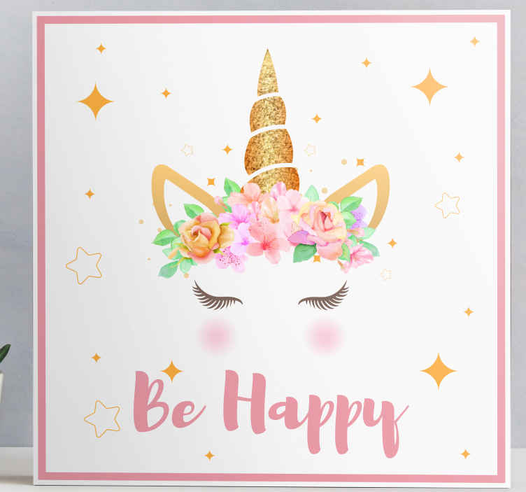 TenStickers. Unicorns phrase be happy unicorn canvas wall art. Colorful, fun and happy fairy fantasy canvas art for children. A canvas art design illustrating a unicorn's horn with smiling face, flowers and stars.