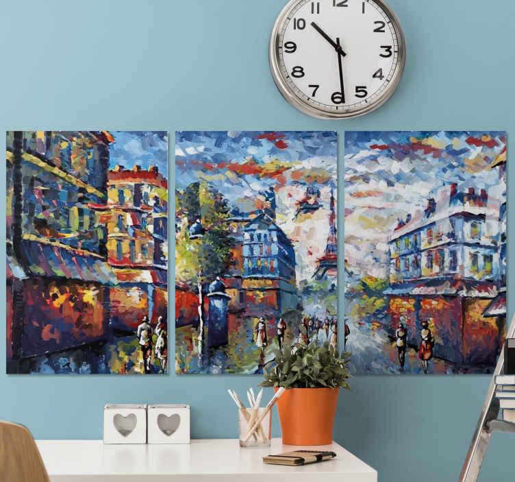 Tenstickers. Pariisin boheemi taide akvarelli tyyli taide aiheinen canvas. Kaunis boheemi maalaus kangas pariisin kaupungin kuva. Kangasmaalaus kuvaa eifel-tornin maamerkkiä pariisin kaupunkikuvalla.