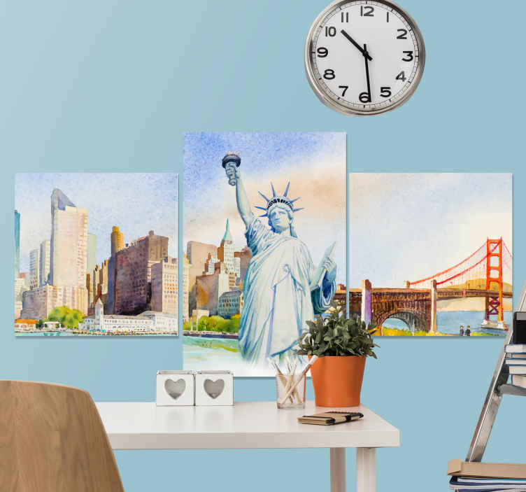 TenStickers. New York painted canvas art. One of a kind New York canvas prints to add character to your home! Save 10% on your first order when you sign up today!