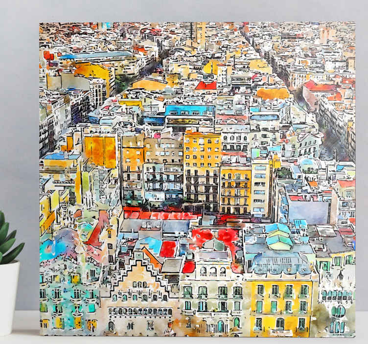 TenStickers. arte vistas Barcelona canvas art. Incredible Barcelona inspired watercolour city canvas print perfect for you. With +10,000 satisfied customers you are in safe hands.
