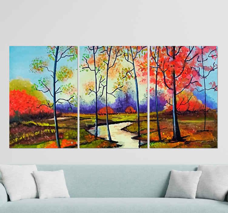 TenStickers. Canvas schilderen veelkleurig bomen landschap . Ongelooflijke bomen canvas schilderij aan de muur met verbazingwekkende kleuraccenten, speciaal voor uw huis! Kortingen die vandaag online beschikbaar zijn.