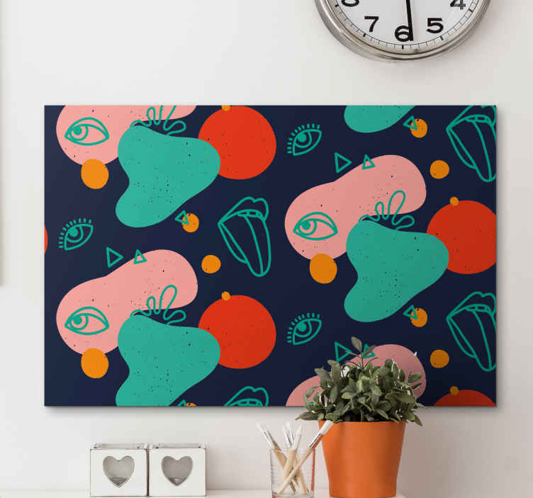 TenStickers. Memphis Lips and Eyes canvas art. Incredibly detailed colourful canvas wall art perfect for your home! With +10,000 satisfied customers you are in safe hands.