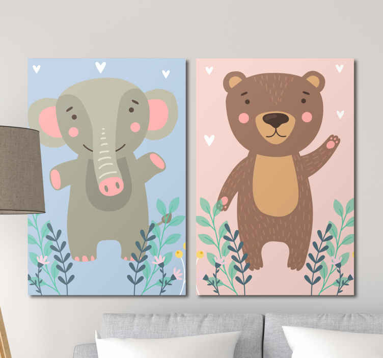 TenStickers. bebes osos y elefante wall pictures for nursery. Amazing animal inspired childrens wall art canvases that will look stunning in your child's nursery! Discounts available.