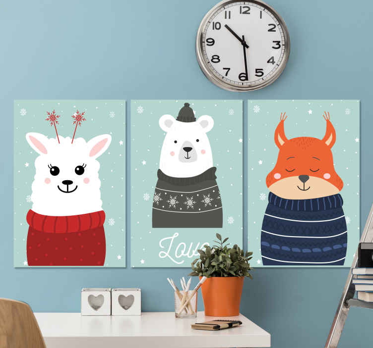 TenStickers. Baby Animal Nordic wall pictures for nursery. Incredible animal inspired cartoon childrens wall art canvases in a stunning nordic style. Choose your size and get hanging.