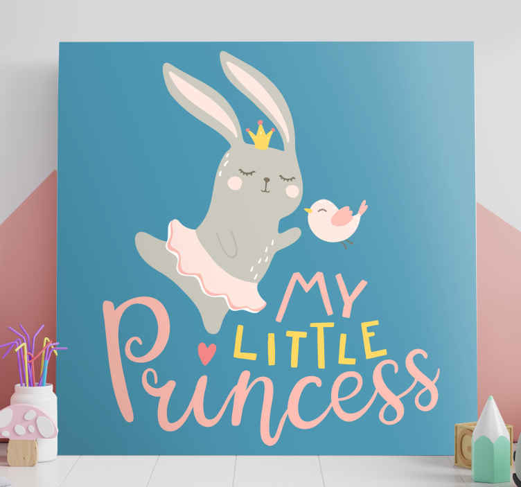 TenStickers. Bebe conejo frase mi princesa εικόνες τοίχου για φυτώριο. αξιολάτρευτο ζωγραφικό καμβά εμπνευσμένο από ζώα που θα λατρέψει το μικρό σας. εγγραφείτε σήμερα για έκπτωση 10% στην πρώτη σας παραγγελία μαζί μας.