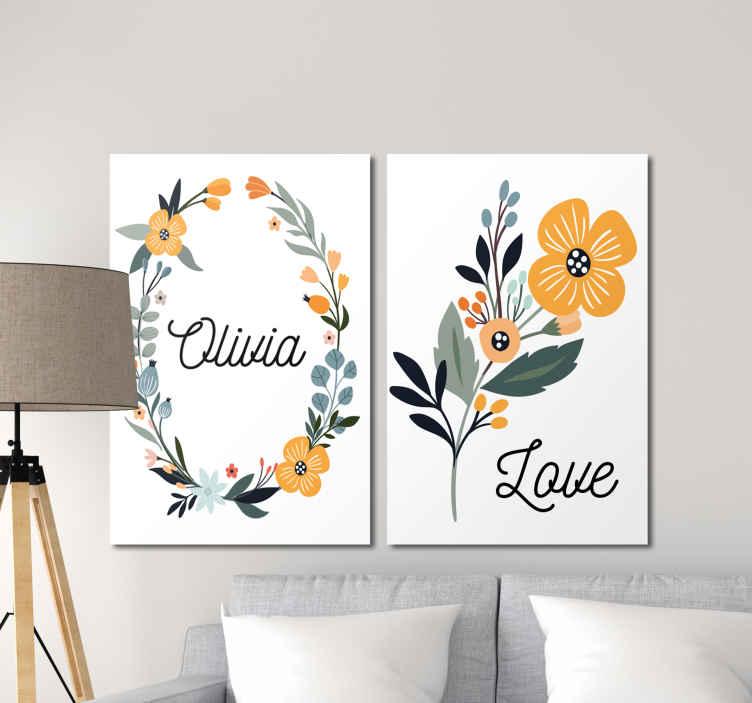 TenStickers. Bebe de flores con nombre vægbilleder til børnehave. Fantastiske blomsterinspirerede lærredstryk, der kan tilpasses, der ser fantastiske ud i dit hjem! Rabatter tilgængelige online i dag.